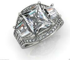 3.00 CT RADIANT CUT BRIDAL RING WITH TWO WEDDING BAND IN 14KT SOLID WHITE GOLD