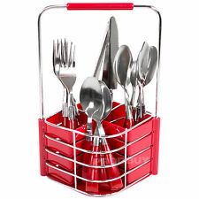 16 Piece Cutlery Set with Caddy Holder Tidy Pot Red Stainless Steel Dining Table
