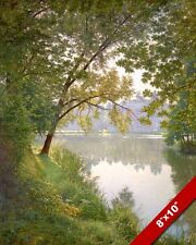 CALM MORNING AT GENTLE RIVERS EDGE PEACEFUL WATER PAINTING ART REAL CANVAS PRINT