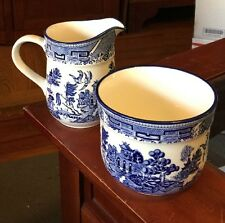 Lot Of 2 Arklow Ireland Blue Willow creamer And Sugar/small condiment Bowl