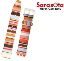 Swatch ASFK140 Skin Classic 16mm Mille Linie Multi Color Fabric Watch Band