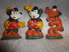 3 Vintage Lead figures Mickey Mouse Minnie & Pluto