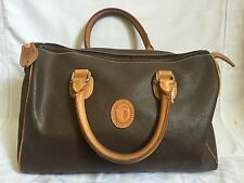 Vintage Trussardi  Large Brown Leather Satchel Handbag Purse