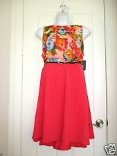 Womens Plus Size Dress Belted Tea Coral Skirt with Floral Chiffon Top 22W Bright