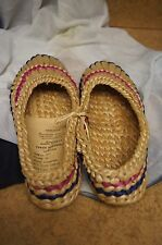 Vintage Collectible Russian Folk Style Woven Straw Shoes Slippers Mocassins 1977