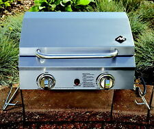 New 2 Burner Portable Stainless Steel Grill Sportsman's Tailgate Camping + Cover