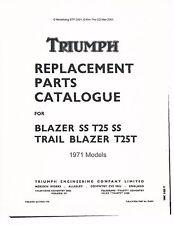 Triumph Parts Manual Book 1971 Blazer SS T25 SS & 1971 Trail Blazer T25T