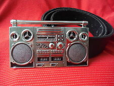 BOOMBOX GHETTO BLASTER STEREO RADIO RM MUSIC HEAVY METAL BUCKLE & LEATHER BELT