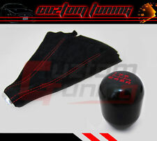 HONDA/ACURA 6SPEED HEAVY JDM TRANSMISSION BLK SHIFT KNOB+SUEDE BOOT RED STITCH