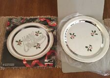 """New listing Merry Christmas Holiday Silver Company Tray Plated Platter 12"""""""