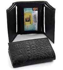 Men's Genuine Leather Trifold Wallet Crocodile Embossed 6 Credit Card Slots