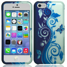 Apple iPhone 5C Rubberized HARD Protector Case Snap Phone Cover Blue Silver Vine