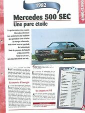Mercedes 500 SEC 1982 GERMANY DEUTSCHLAND ALLEMAGNE  Car Auto FICHE FRANCE