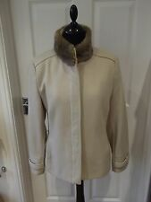 Beige Coat by Principles Wool Blend with Faux Fur Collar Button Front UK Size 14