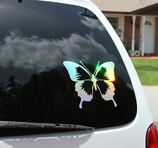 "9x7"" silver holographic rainbow LARGE BUTTERFLY  car decal sticker"