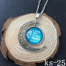 2015 New Handmade I Love You To The Moon And Back Necklace Silver plated ks-25!