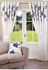 """Navy Blue Flower Cream Fully Lined Ring Top Curtains 90x54"""" 229x137cm"""