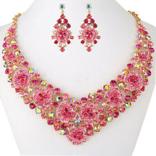 Flower Leaf Necklace Earrings Set Pink Austrian Crystal Gold Plated Women Party