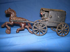 Vintage Cast Iron toy Horse Drawn Amish Wagon with Children and drivers