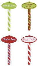 Cake Decorating Christmas Cupcake Picks Toppers - North Pole Signs