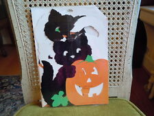 Vtg NIP Hallmark PARTY EXPRESS Halloween BLK Cats Pumpkins Die Cut Table Decor