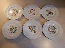 CNP CHINA FRANCE LIERRE LAUVAGE 6 FLORAL DESIGN EMBOSSED PLATES 6 5/8""