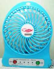 Portable Mini Rechargeable LED Light Fan With Battery & USB Cable(Blue)