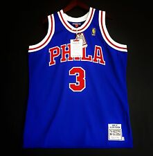 100% Authentic Mitchell & Ness Allen Iverson Sixers blue NBA Jersey Size 48 XL *