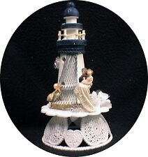LIGHTHOUSE Wedding Cake Topper Light House Sea Beach Funny bride Groom top lake
