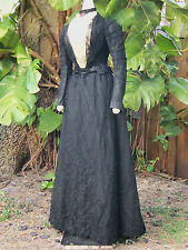 ANTIQUE HIGH VICTORIAN RECEPTION DRESS c.1890s
