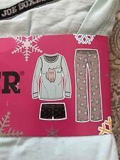 Joe Boxer Women's 3pc MEOW Knit Pajama Set TOP, Shorts Pants 2X