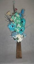 new Teal blue & Cream Bouquet 20 LED lights in wood vase - Home, conservatory,