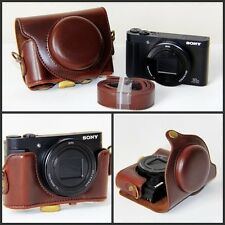 Coffee Leather Camera Case Bag For Sony Cyber-shot DSC- HX90V HX90 WX500 New