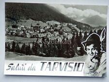Saluti da TARVISIO ragazza alpino vino Udine vecchia cartolina