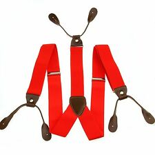 Men Fashional Red Unisex Suspender Braces Adjustable Leather Button Holes BD714