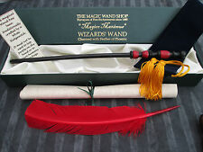 Wooden Magic Wand wizard/witch red feather Black & Red Harry Potter style NEW