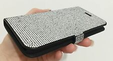 Clear Swarovski Elements & Crystals Bling Black Wallet Case Cover iPhone 7 Plus