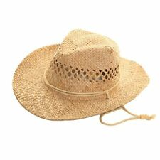 UNISEX NATURAL  STRAW COWBOY HAT ( ONE SIZE ) with chincord fast post 1st class