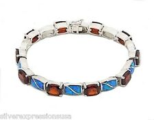 Red Garnet & Blue Fire Opal Inlay 925 Sterling Silver Link Tennis Bracelet 7''