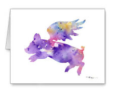 FLYING PIG note cards by watercolor artist DJ Rogers