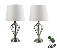 Pair of Classic Brushed Chrome Touch Bedside Table Lamps Cream Shades