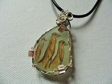 """Meerkat necklace - hand painted sea glass with Preciosa beads - 18"""" black cord"""
