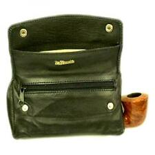 Dr Plumb Black Leather Magnetic Combination Wallet Pipe Smoker Zip Tobacco Pouch