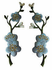 #3959B Lot 2Pcs Bule Quince,Sakura Flower Embroidery Iron On Applique Patch