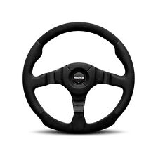 MOMO DARK FIGHTER 350MM BLACK LEATHER & ALCANTARA / SUEDE STEERING WHEEL