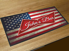 Personalised Any Name USA American Flag Beer Label bar runner home bar