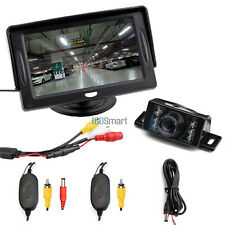 "4.3"" TFT LCD Monitor Wireless Car Parking Reverse Back Up Camera Kit  7 IR LED"