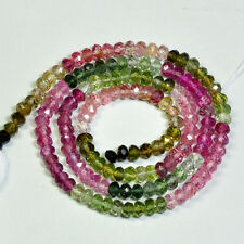 3.3MM Pink Blue Green Tourmaline Faceted Rondelle Beads 13.8 inch strand