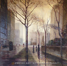 """Plaza After the Rain"" Paul Cornoyer, Reproduction in Oil, 36""x36"""