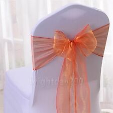 10 - 100pcs Organza Sashes Chair Cover Fuller Bows Wedding Party Decoration